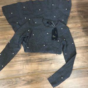 NWT Zara knit and pearl dress sz S